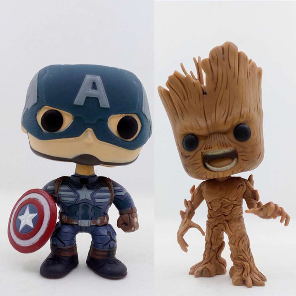 Guardians of the Galaxy 2 Angry Tree Man & Captain American Bobble Head 10cm Action Figure Toys фигурка planet of the apes action figure classic gorilla soldier 2 pack 18 см