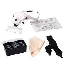 Lens Loupe Adjustable Magnifying Glass With LED Light for Grafting Eyelash Extension, 1.0X 1.5X 2.0X 2.5X 3.5X