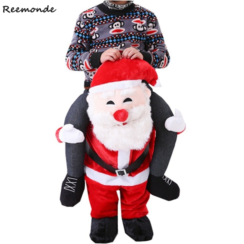 Christmas Santa Claus Costumes Shoulder Ride Animal Back Ride Back Funny Animal Pants Adult Women Men Fun Toys Men Fancy Dress