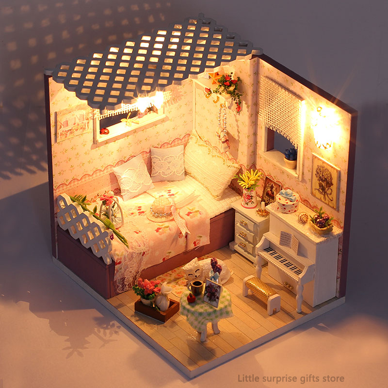 Genteel Diy 3d Building Dollhouse Miniature Assemble Puzzl Kits With Funitures Toys For Mm/gg Festival Handmade Gifts Toys & Hobbies