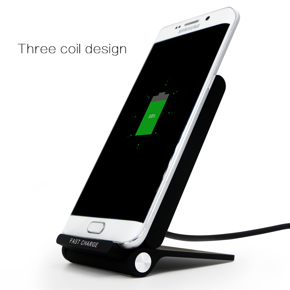 Quick Charging QI Wireless Charger 3 Coils Foldable Wireless Charger Stand for Iphone Samsung Galaxy Note 5 S7 Edge S6 Edge in Mobile Phone Chargers from Cellphones Telecommunications