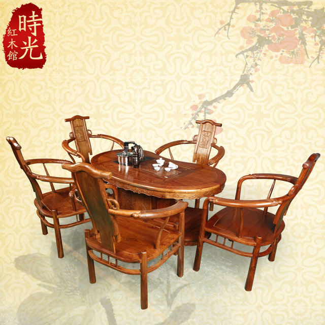 Chinese Rosewood Furniture, Antique Mahogany Wood Waist Type Tea Table Kung  Fu Tea Table Tea Tables And Chairs Combination Packa