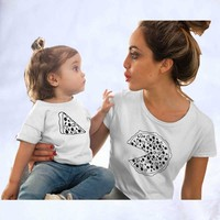 2019 New Family Matching Clothes Print Pizza pure jumpsuit Father Mother Son Daughter Outfits Summer family t shirt
