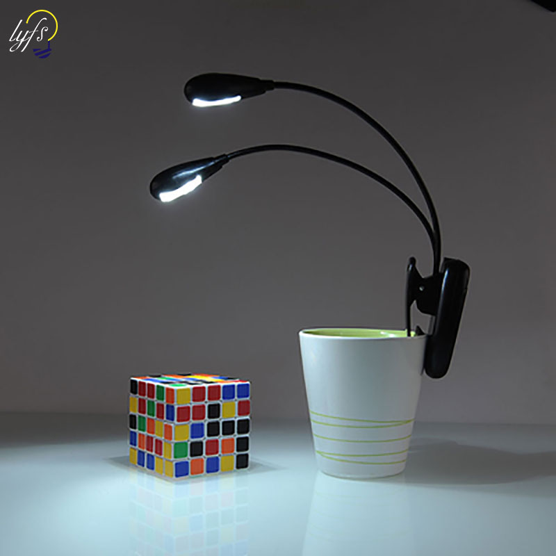 LED Book Light Dual Head Rechargeable Eye-Care Clip On Bed Reading Light Adjustable 2 Levels Brightness Reading Lamp
