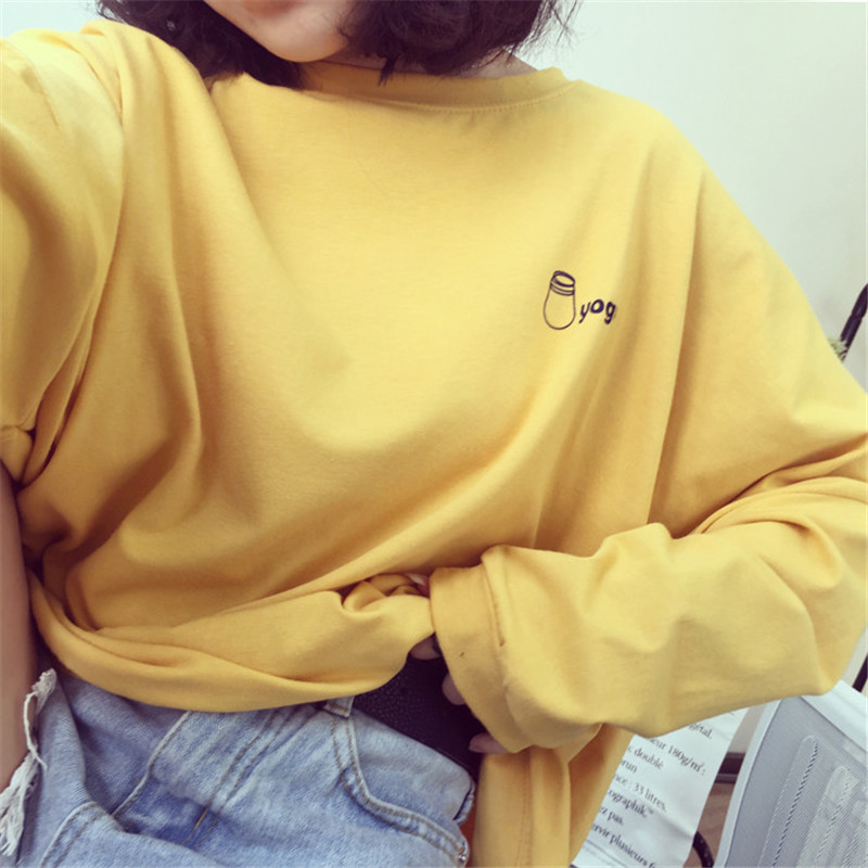 2019 Autumn New T-shirts Women Korean Harajuku T Shirt Womens Long Sleeve Loose Yellow White Tees Funny Cartoon Pattern Printed