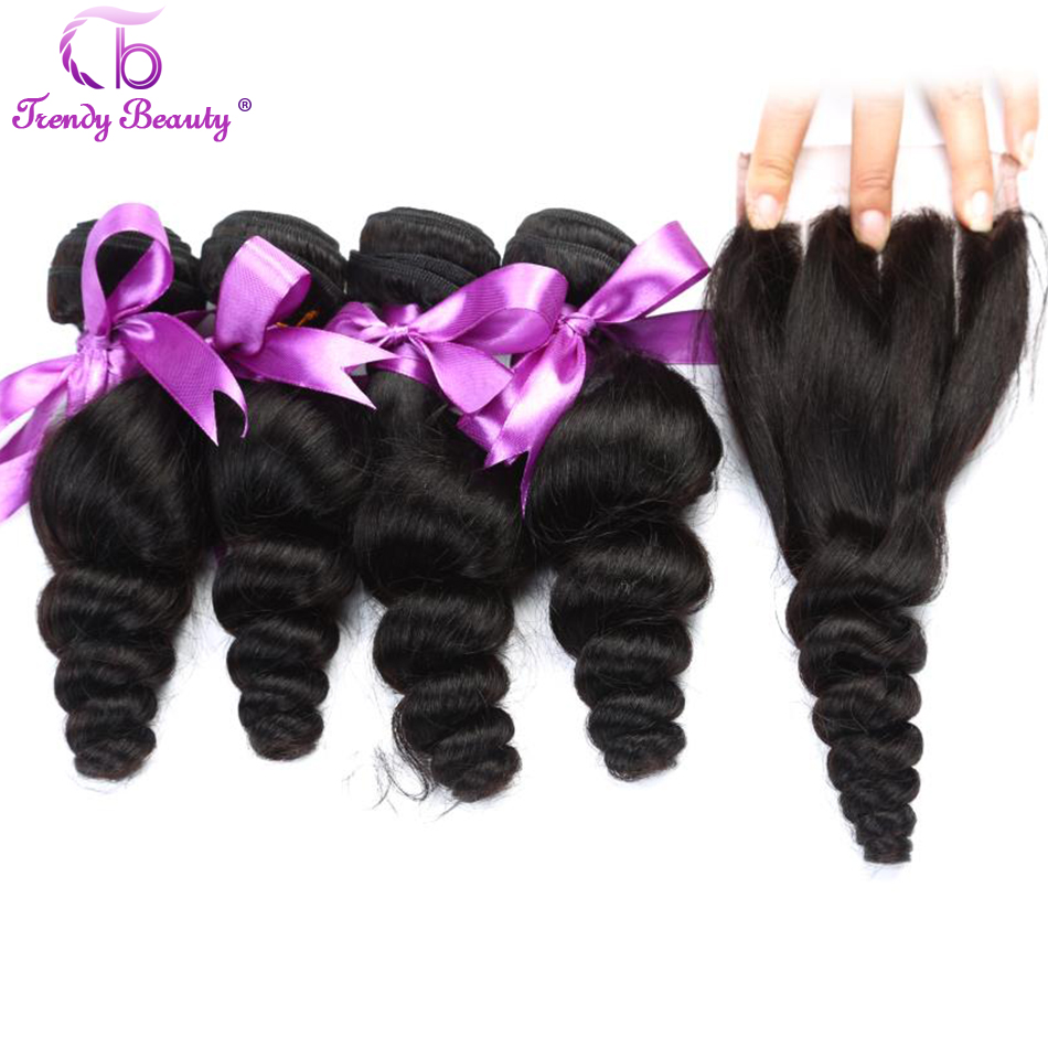 TRENDY BEAUTY Indian Loose Wave Human Hair 4 Bundles with 1 PC 4 4 Inches Lace