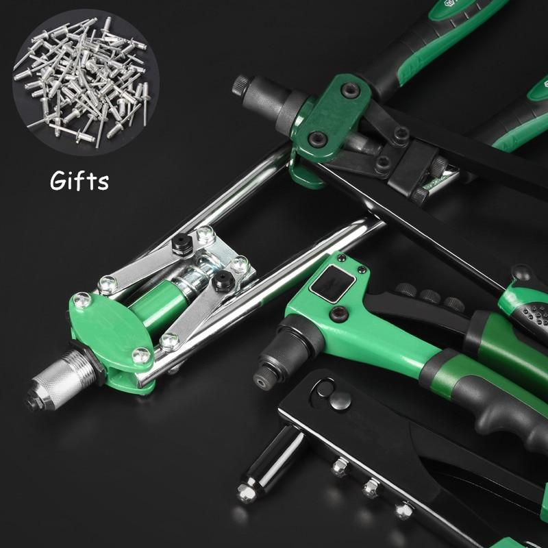Riveter Guns Hand Blind Rivet Gun Alloy Steel Nut Gun Head Industry Riveting Kit Household Repair Tools With Gifts 50Pcs Nails