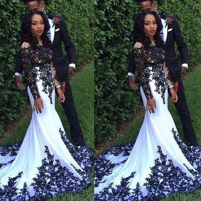 e6da97f3b2e Charming Long Sleeve Black Lace Sheer Floor Length Mermaid White African Prom  Dress 2017 O-neck Real Sample Prom Dresses