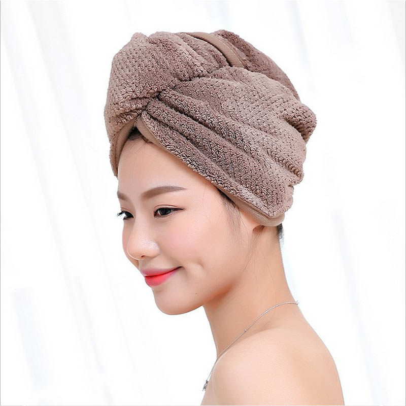 23*60cm 1 Pc Quick Dry Towels Microfiber Fabric Dry Hair Hat Shower Cap Lady Turban  Bath Towel Absorbent