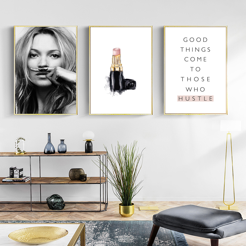 HTB1qL8AaKbviK0jSZFNq6yApXXaR Abstract Modern Fashion Make Up Canvas Painting Black White Salon Posters Prints Nordic Wall Art Pictures Living Room Home Decor