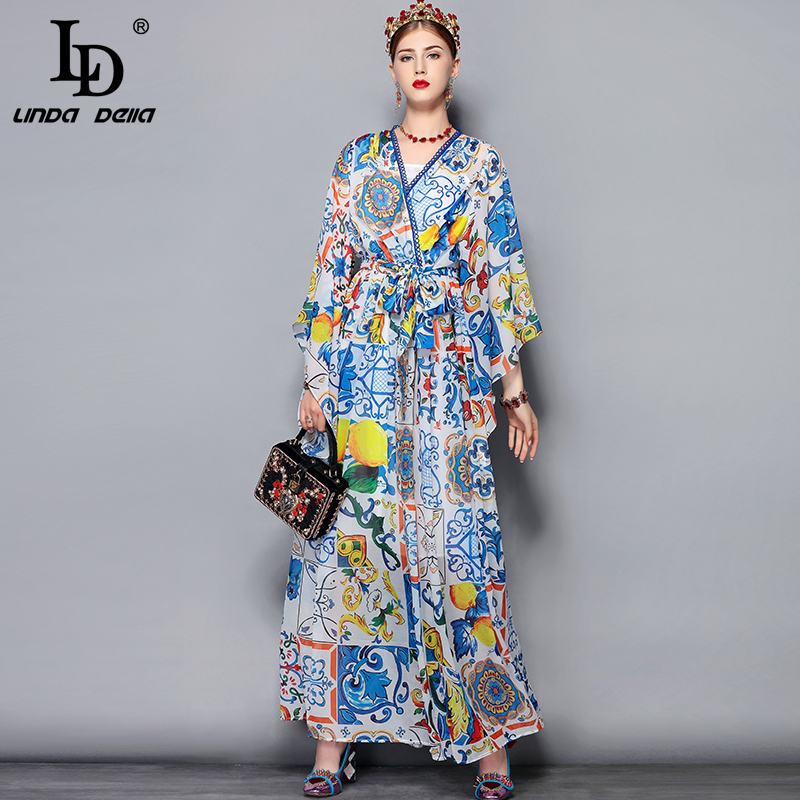 LD LINDA DELLA Fashion Runway Maxi Dress 5XL Plus size Women's Batwing Sleeve V-Neck Floral Print Casual Holiday Long Dress