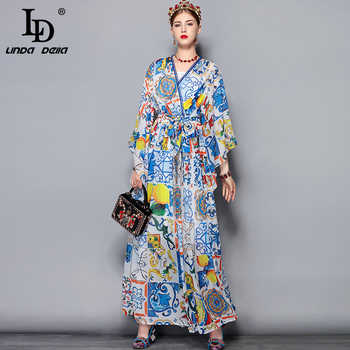 LD LINDA DELLA Fashion Runway Maxi Dress 5XL Plus size Women's Batwing Sleeve V-Neck Floral Print Casual Holiday Long Dress - DISCOUNT ITEM  20% OFF All Category