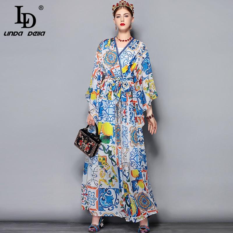 Vestido largo para mujer talla grande 5XL con cuello en V y estampado Floral para mujer vestido-in Vestidos from Ropa de mujer    1