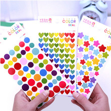 6sheets/Set DIY Cute Kawaii Colorful Paper Sticker Lovely Heart Stickers School Stationery Supplies