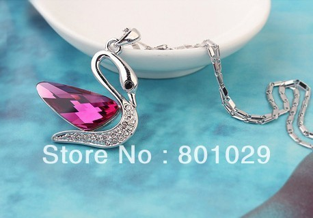 Austria  crystal  swan design women necklace 2013 wholesales free shipping