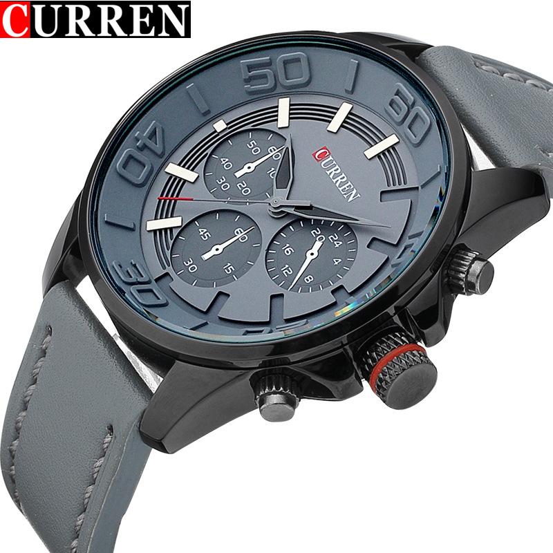 Prix pour Mens Montres Haut Marque De Luxe Bracelet En Cuir Étanche Curren Quartz Montre Hommes Casual Sport Homme Horloge Montres Montre Homme