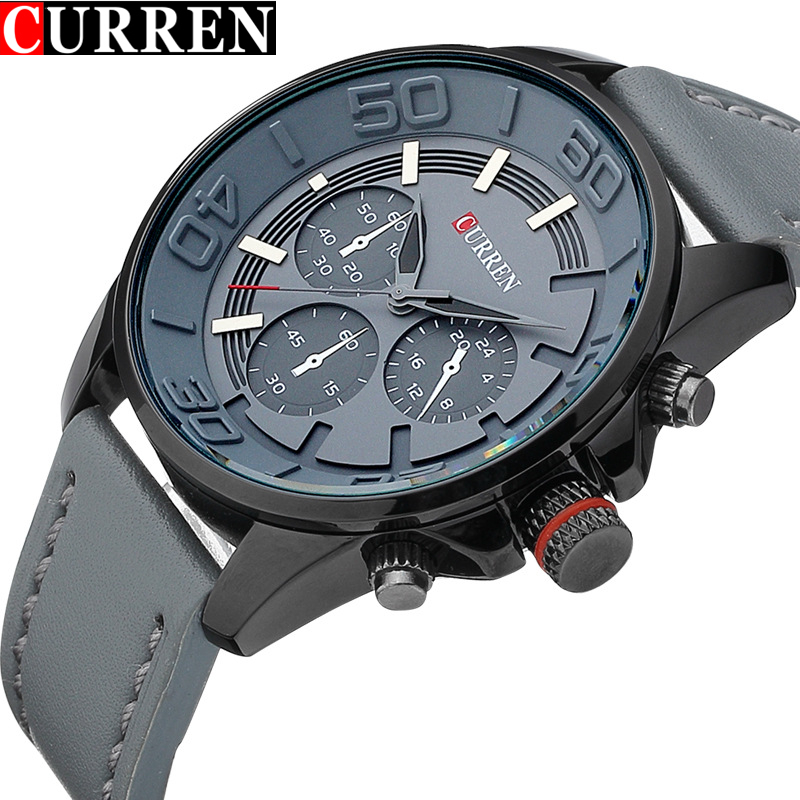 Mens Watches Top Brand Luxury Leather Strap Waterproof Curren Quartz Watch Men Casual Sport Male Clock Wristwatches Montre Homme curren watches mens brand luxury quartz watch men fashion casual sport wristwatch male clock waterproof stainless steel relogios