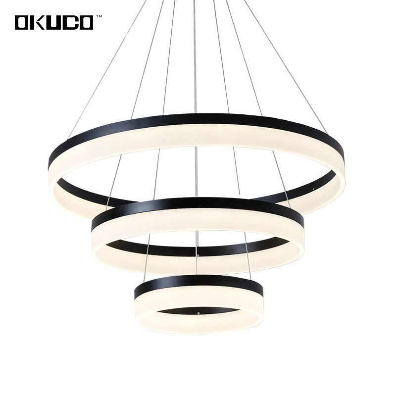 Rings Modern Pendant Lights Fixtures For Living Dining Room Decoration Suspension Circle Restaurant Hanging Ceiling Lamp Dimmer
