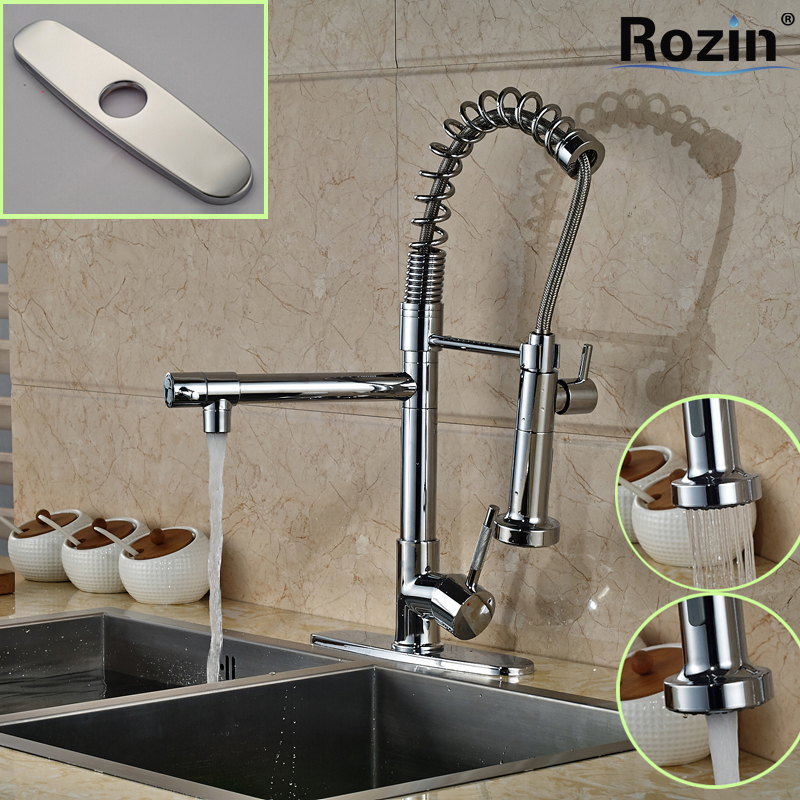 ФОТО Luxury Hands Free Dual Sprayer Nozzle Kitchen Faucet Chrome Brass Single Handle Kitchen Mixer Taps