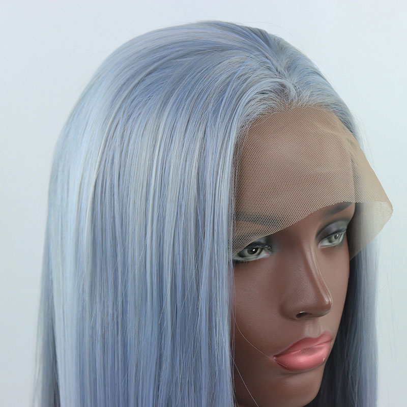 Bombshell Light Blue Mix Grey Long Straight Hand Tied Synthetic Lace Front Wig Glueless Heat Resistant Fiber Hair For Women Wigs(China)