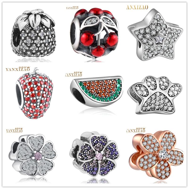 Granos de plata europeos CZ Charm Fit Pandora Style Pulsera Colgante Collar DIY Joyería Originales