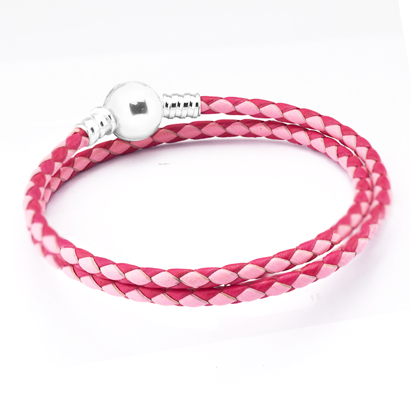Mixte Rose Tissé Bracelet En Cuir Argent 925 Sterling Argent Femme Charm Bracelets pour Femmes D'origine Bijoux pulseras mujer