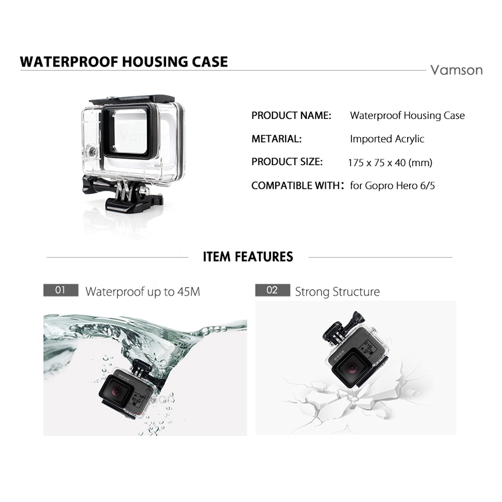 Vamson for Gopro Hero 7 6 5 Accessories Waterproof Protection Housing Case Diving 45M Protective For Gopro Hero 6 5 Camera VP630 3