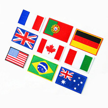 6pcs National countries Flag/banner clothes patches iron on embroidered Patches sticker for jeans Clothes Applique Motif Badge