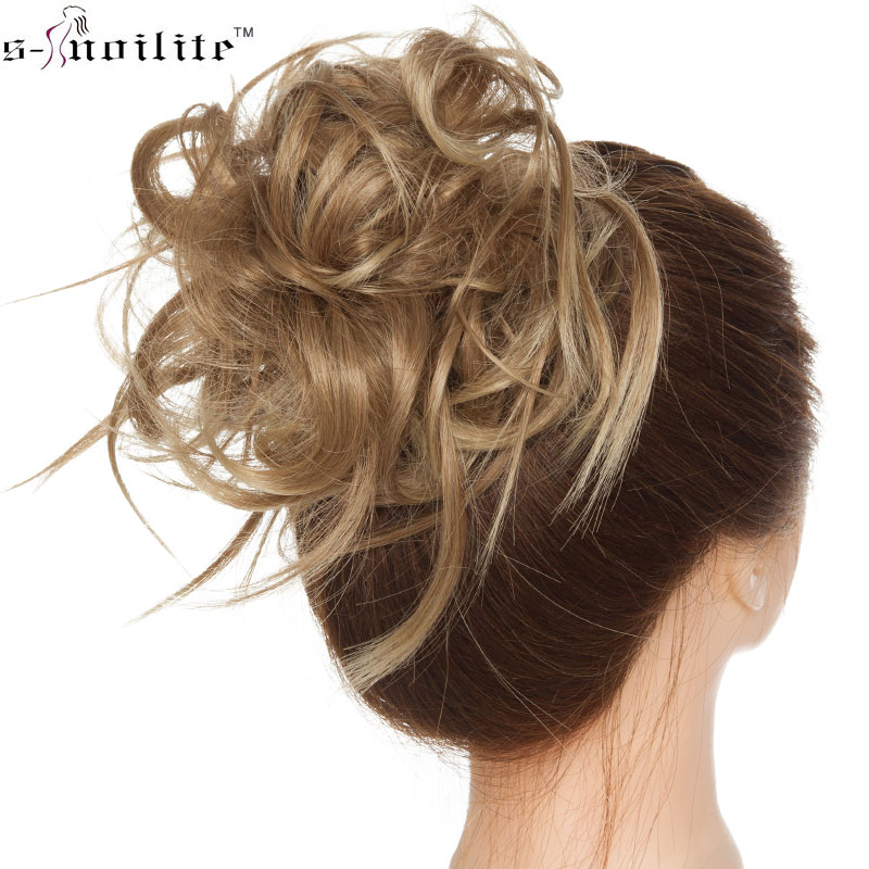 S-noilite Synthetic Chignon Hair Bun Straight Donut Chignon Elastic Messy Scrunchies Wrap For Ponytail Hair Extension For Women