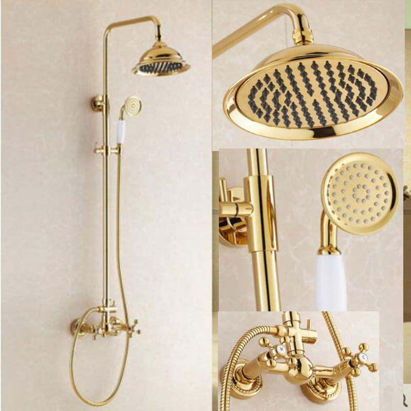 Golden 8 Rain Shower Faucet Dual Handles Wall Mount Mixer Tap W/Hand Shower New sognare new wall mounted bathroom bath shower faucet with handheld shower head chrome finish shower faucet set mixer tap d5205