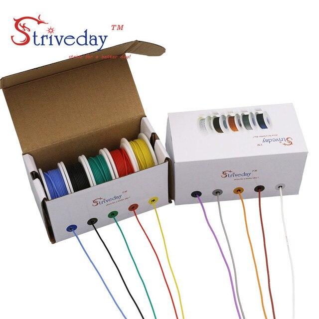 50 m/kutu 164ft bağlama telli tel kablo tel 28AWG esnek silikon elektrik telleri 300V 5 renk karışımı kalaylı bakır DIY
