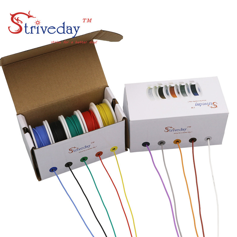50m/box 164ft Hook-up stranded wire Cable Wire <font><b>28AWG</b></font> Flexible <font><b>Silicone</b></font> Electrical Wires 300V 5 color Mix Tinned Copper DIY image