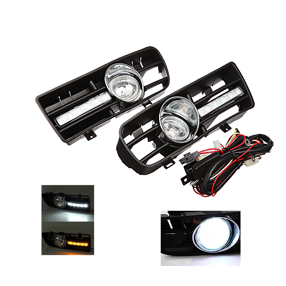 ФОТО Bumper Grille Grill Driving LED Fog Lamp Lights for 99-04 VW GOLF 4 MK4 IV