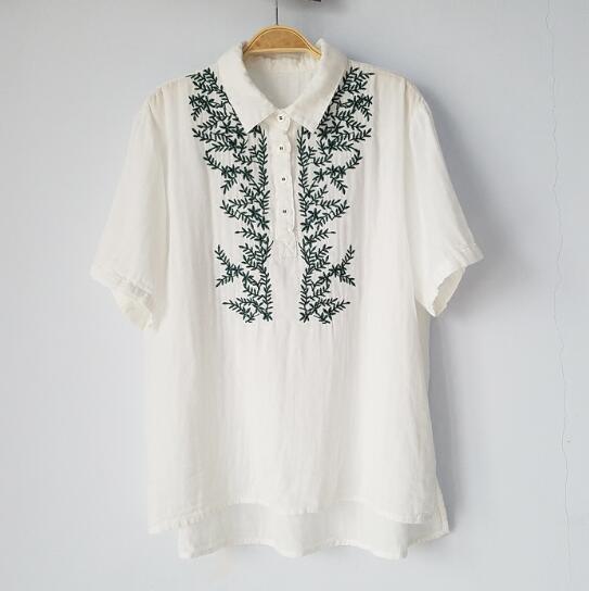 Hierba verde bordado Da Vuelta-abajo camisa de manga corta top niña mori