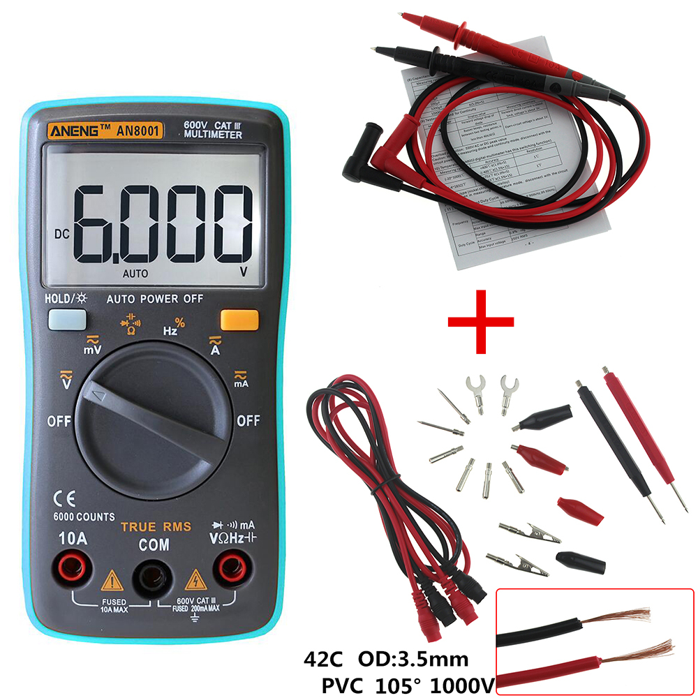 ANENG AN8001 Digital Multimeter 6000 Counts Backlight AC/DC Ammeter Voltmeter Ohm Portable Meter