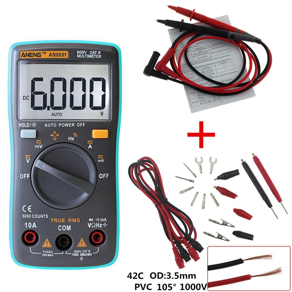 ANENG AN8001 Multimètre Numérique 6000 Points Rétro-Éclairage AC/DC Ampèremètre Voltmètre Ohm Mètre Portatif