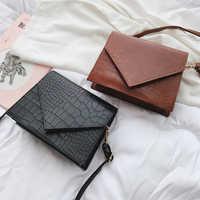 Vintage Leather Crocodile Pattern Crossbody Bags For Women 2019 Luxury Handbags Women Bags Designer Small Shoulder Messenger Bag