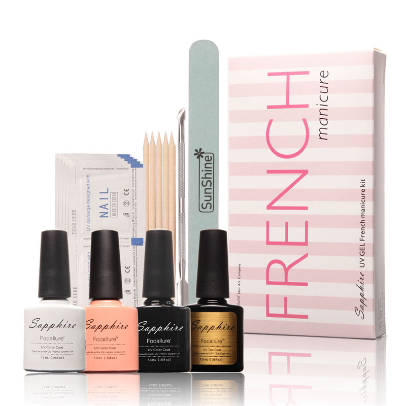 FOCALLURE  French Manicure Kit Top Base  Coat  Nail Gel Kit Remover Wood Stick Cuticle Pusher Nail Tool Art Manicure Set Polish