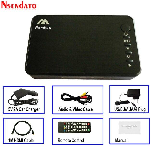 Mini Full HD Media multimedia Player Autoplay USB External HDD Media Player With Car Charger HDMI VGA AV FOR SD U Disk MKV RMVB