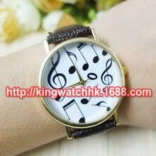 DHL livre, 100 pçs/lote, nota da música Watch Ladies Mulheres Quartz Dress Watch Moda Casual Casal de Couro Relógio namorado