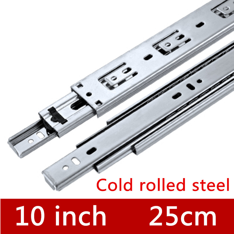 2 Pairs 10 inches 25cm Silver Three Sections Drawer Track Slide Guide Rail accessories for Furniture Slide Hardware Fittings 2 pair 12 inches 30cm three sections slide guide rail drawer track accessories for furniture slide hardware fittings