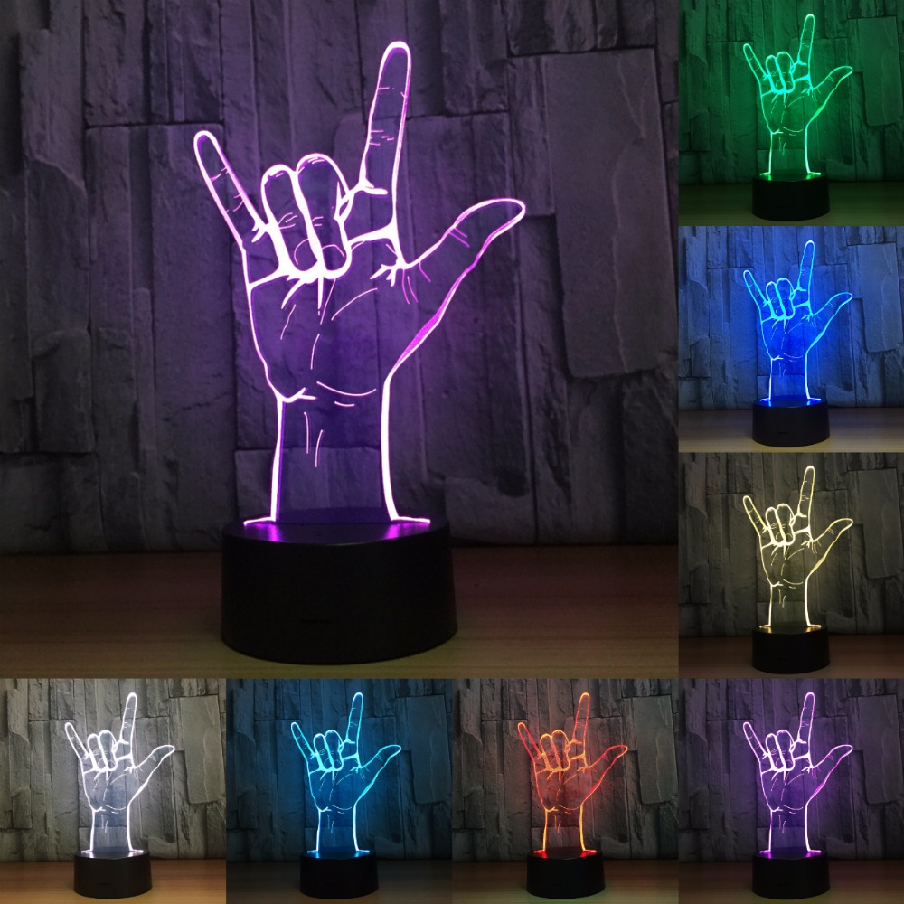 Светодиодный Ночные огни 3D лампы рок жест Прохладный Рождественский Подарок Новинку 5 В USB Touch лампа для детей прикроватная бар декоративные...