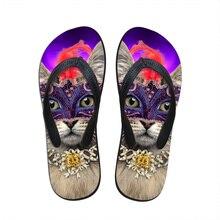 Hot Designer été femmes sandales masque chat impression plage Flip Flops pantoufles pour femmes résistant à l'usure dames chaussures Sapato Feminino