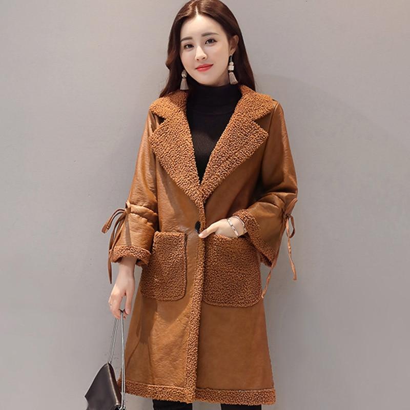 2017 Long Women Faux   Leather   Jacket Fur Pu   Leather   Coat Female Autumn Winter Slim Outerwear Women Basic Jacket Plus Size RE0163
