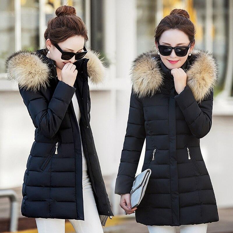 New Winter Jacket Coat Womens Korean Slim White Duck Down Parkas Ladie Hooded Faux Fur Collar Windbreaker Pockets Warm Overcoat