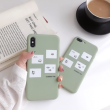 Cute Cartoon Matcha Green Expression Smiley Mood Soft TPU Phone Case For iPhone X XS XR XSMax 6 6s 7 8Plus Back Cover
