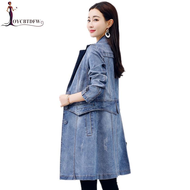 Medio Damas Nuevo Primavera Delgada Mujeres Largo Era Windbreaker Blue  Casual Moda Mujer Traje Abrigos 2018 Collar Slim Salvaje Chaqueta ... 507ef0fc1e95