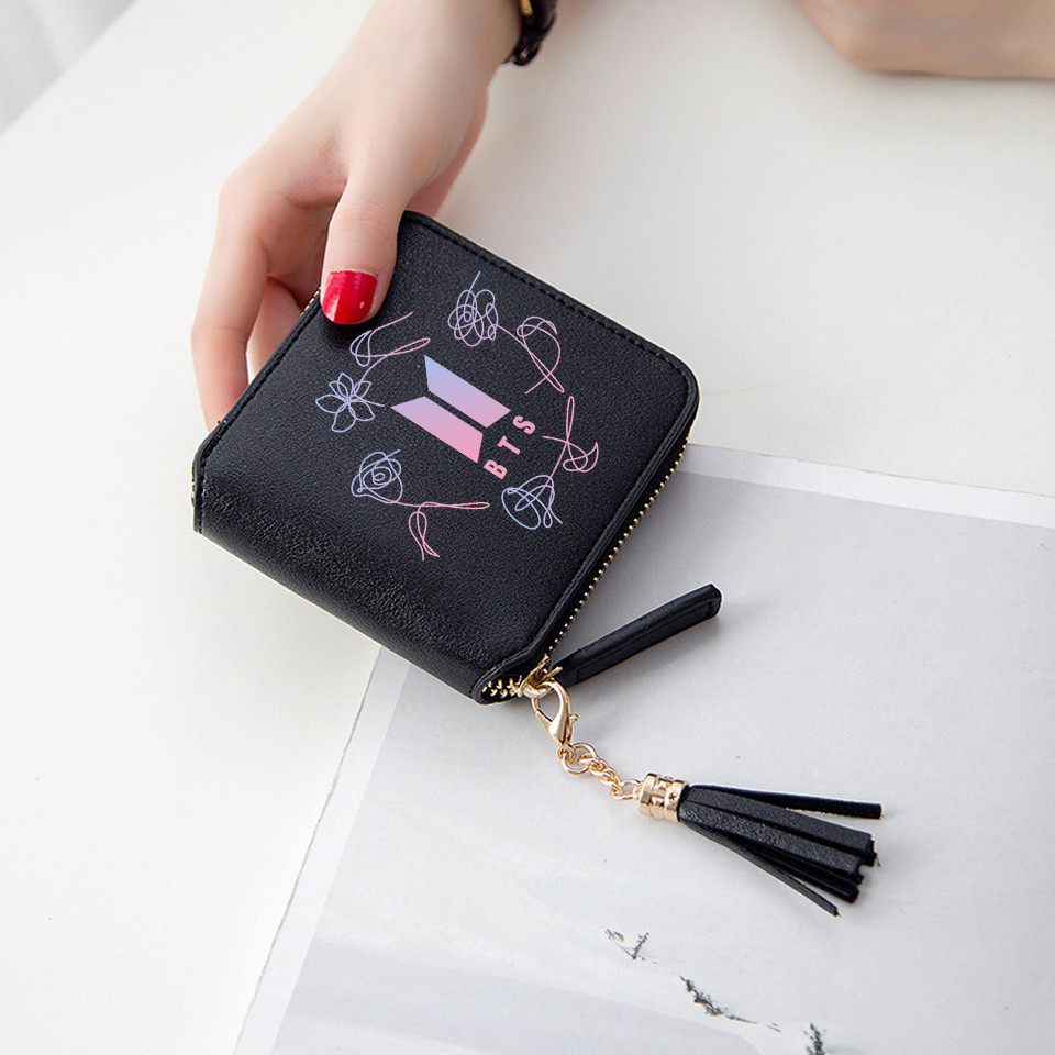 Women BTS Wallets girl purses Short Zipper card wallet Kpop BTS Flower Accessories kawaii Tassel Idol pursest Army Unique wallet