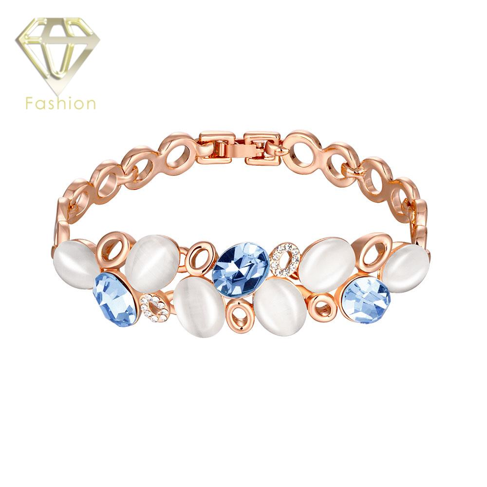 Rose Gold Color Luxury Natural Stone Oval Opal Charm Bracelet with AAA+ Cubic Zircon White&Blue Crystal Jewelry for Party