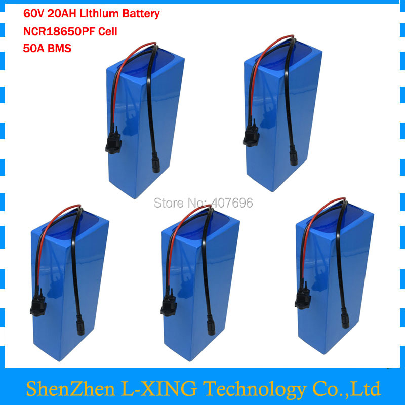 60V 20AH Lithium ion battery pack 60V 20.3AH Use for panasonic 29PF 18650 cells with 67.2v 5A Charger 50A BMS 5PCS Wholesale lithium ion battery 1800w 60v 18650 electric bike battery 60v 12ah triangle battery pack with bms charger for samsung cell